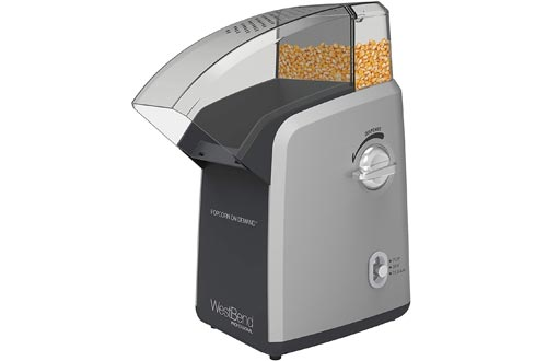 West Bend 82701 Demand Professional Hot Air Popcorn Poppers Machine, 4-Quart, Silver