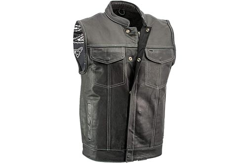 Xelement XS3450 'Paisley' Men's Black Leather Motorcycle Vests with White Stitching