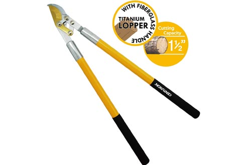 Centurion 186 4-Point Linkage Titanium Bypass Loppers with Extra-Long Fiberglass Handle 30.5 Inch with Cutting Capacity 1.5 Inch