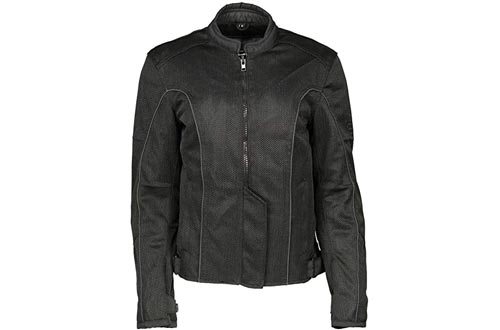 M Boss Motorcycle Apparel BOS22702 Ladies Black Mesh Racer Jackets with Full Armor - 5X-Large