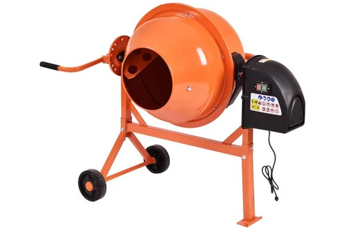 Electric Portable 2 1/5 Cubic FT Concrete Cement Mixers w/Wheel with Ebook