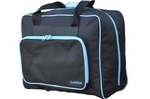 foolsGold Pro Thick Padded Sewing Machine Bag Carry Cases - Black/Blue