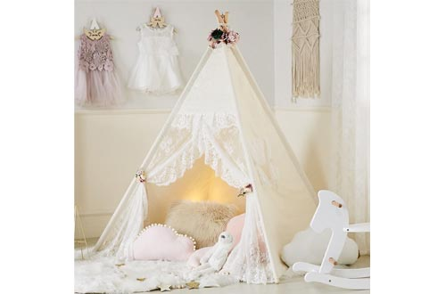 little dove Floral Classic Ivory Kids Teepee Kids Play Tents Childrens Play House Tipi Kids Room Decor