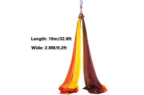 Bkisy Aerial Silk, 11yd 9.2ft Aerial Yoga Swings Set Yoga Hammock Kit - Antigravity Ceiling Hanging Yoga Sling - Carabiners, Daisy Chain, Inversion Swings for Home Outdoor Aerial Dance, Red & Yellow
