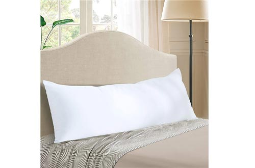 """EVOLIVE Ultra Soft to Medium Density Microfiber Body Pillows, Long Side Sleeping Pillows for Adult and Pregnancy(Off White, Body Pillows 21""""x54"""")"""
