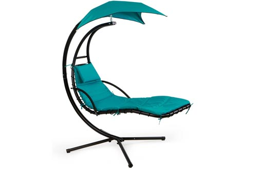 Barton Hanging Chaise Lounger Chairs Arc Stand Porch Swing Hammock Chairs w/Canopy Umbrella