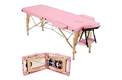 Topeakmart 84 Inch 2 Fold Portable Massage Bed Therapy Tables Collapsable Treatment Tables with Carrying Case