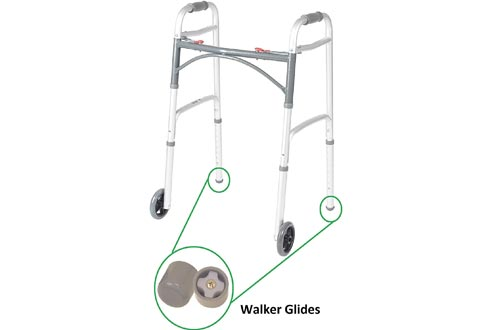 "Deluxe Junior Folding Walkers with 5"" Wheels, Lightweight 2 Button Folding Walkers, Adjustable Heigth, Medical for Seniors & Children"