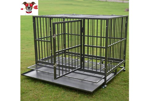"Dog Crates 37""/42""/48"" Pet Cage w/Wheels,Heavy Duty Steel Strong Metal Kennel Two Doors & Double Lock System"