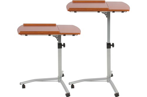 Best Choice Products Angle and Height Adjustable Mobile Laptop Desk Rolling Carts Stand w/Locking Casters - Brown