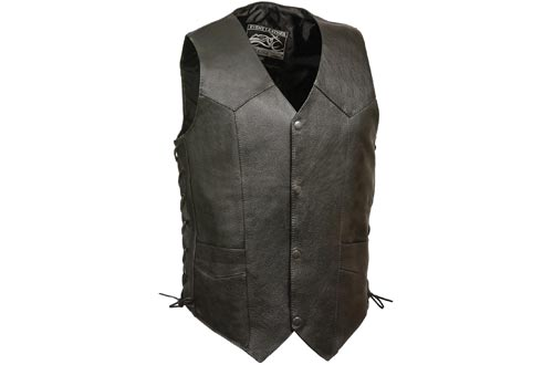 Event Biker Leather Men's Promo Side Lace Leather Vests (Black, Large)