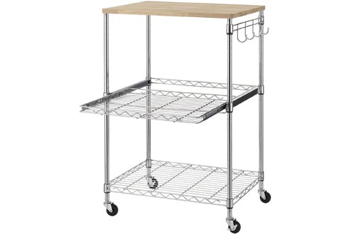 Finnhomy 3-Tier Wire Rolling Kitchen Carts, Food Service Carts, Microwave Stand, Oak Cutting Board and Chrome
