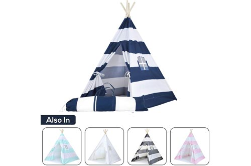 Kids Teepee Tents for Kids, No Toxic Chemicals Added, w/ Carrying Case, Navy Children's Teepee Tents for Boys & Girls, Large Enough Tipi Tents for Adults Toddler Baby Boy Adult Children, Reading Nook