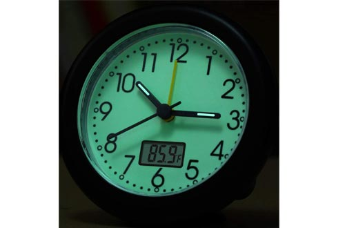 Glow in Dark Analog Travel Alarm Clocks - Silent Non Ticking, Fahrenheit Thermometer LCD Display, Luminous Dial,Loud Beep Sounds,Snooze,Ultra Small Battery Operated Table/Desk Alarm Clocks for Bedroom