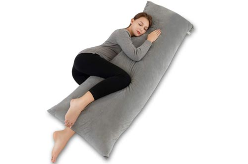 INSEN 55in Body Pillows-Full Body Pillows- Long Side Sleeping Body Pillows for Adult and Pregnancy-with Removable Body Pillows Cover (Velvet Gray)