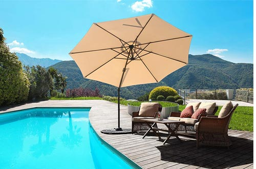 Grand patio Enhanced 10 FT Aluminum Offset Umbrellas, UV Protected Patio Cantilever Umbrellas with Tilt and 360° Rotation, Champagne