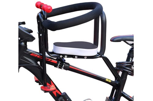 WOLFBUSH Portable Child Bike Seats, Bicycle Kids Front Baby Seats Bike Carrier with Handrail and Foot Pedals for Mountain Bikes, Road Bikes, Cruiser Bikes