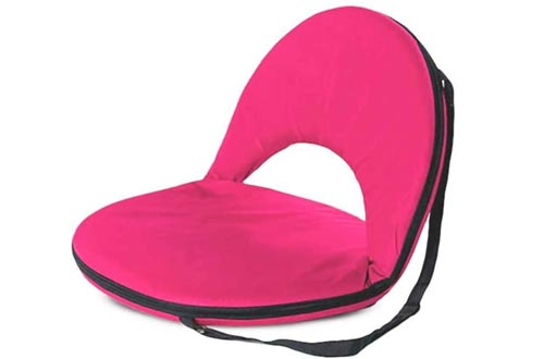 Hot Pink 5-Position Folding Chairs with Adjustable Strap for Kids and Adults Comfortable Seat for Ground and Floor 20''L x 9.5''H