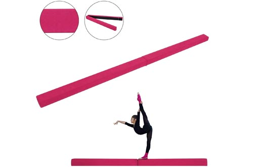 Popsport Gymnastics Balance Beams 7FT 8FT Safe Secure and Firm Long Balance Beams Suede Material Folding Floor Gymnastics Equipment for Teens Kids Hone Skills Training Physical Therapy at Home