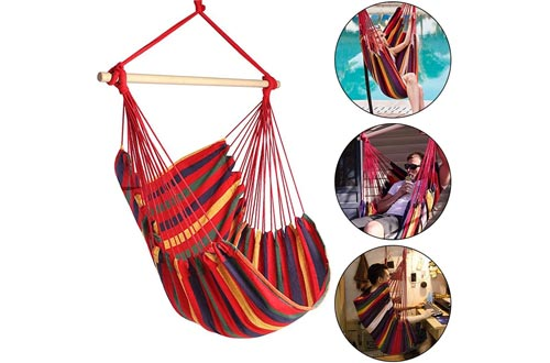 N/X Hanging Rope Hammock Chairs Swing Seat for Any Indoor or Outdoor Spaces- Max. 265 Lbs -2 Seat Cushions Included