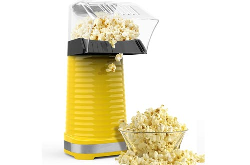 Hot Air Poppers Popcorn Maker, 1200W Hot Air Popcorn Poppers, Electric Popcorn Machine with Removable Lid for Home Use, No Oil Needed, Great for Kids, Yellow(1200W)