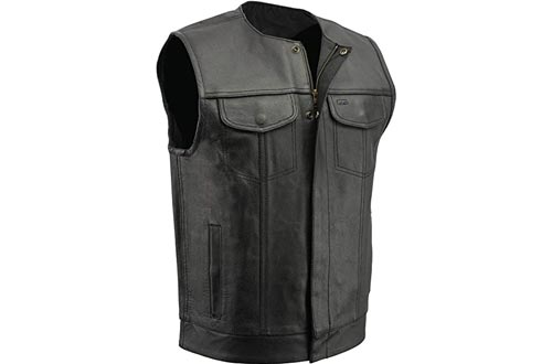 M Boss Motorcycle Apparel BOS13511 Men's Black Collarless SOA Style Dual Snap and Zip Front Leather Motorcycle Vests