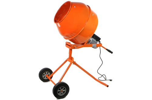XtremepowerUS 5 Cubic Feet Tall Portable Cement Concrete Mixers Handle Adjustable Drive Gearbox with Wheel