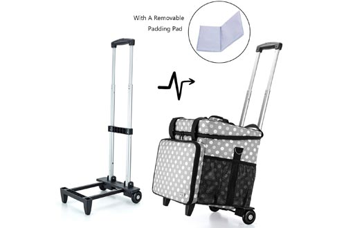 Luxja Overlock Sewing Machine Cases with Detachable Trolley Dolly, Serger Cases with Accessories Storage Pockets (Fit for Most Standard Serger Sewing Machines), Gray Dots