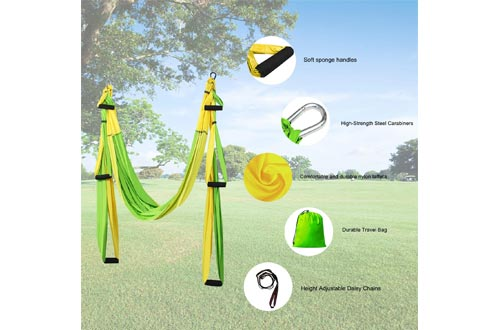 Sotech Aerial Yoga Swings Set, Yoga Sling Inversion Tool for Professional and Beginners, 2 Adjustable Daisy Straps