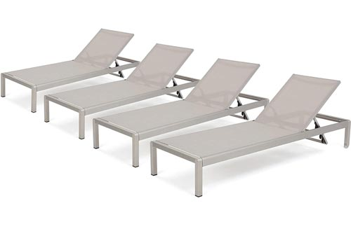 Christopher Knight Home 300495 Crested Bay Outdoor Aluminum Chaise Lounge Chairs | Set of 4 | in Grey