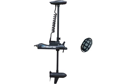 """Aquos Black Haswing 12V 55LBS 54"""" Shaft Bow Mount Electric Trolling Motors Portable, Variable Speed for Bass Fishing Boats Freshwater and Saltwater Use, Energy Saving, Precise Control, Quiet Operation"""