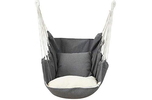 Outdoor Hammock Chairs Macrame Swing, Carrying Bag for Indoor Outdoor,Large Hanging Rope Seat with 2 Cushions, Weight Capacity 440 Lbs, Grey