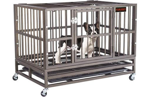 FURUISEN 37/42/48 Inch Heavy Duty Dog Crates, Strong Metal Military Pet Kennel Playpen Large Dogs Cage with Lockable Wheels & Two Prevent Escape Lock