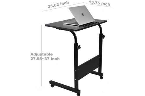 SIDUCAL Tray Table, Adjustable Sofa Side Bed Table Laptop Carts Portable Desk with Wheels Overbed Table Laptop Carts, Black