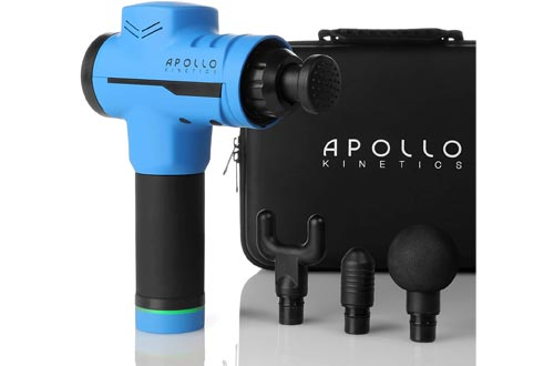 Apollo Kinetics Pulse Massage Guns Portable Electric Deep Tissue Percussion Muscle Massager Drill, Hand Held Cordless Design, Full Body Pain Relief Recovery Stimulator, 4 Heads & Carry Case Included