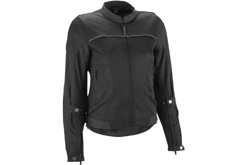 Highway 21 Aira Mesh Women's Motorcycle Jackets W/CE Armors/Reflective Piping/Water Resistant Liner Black Size XS