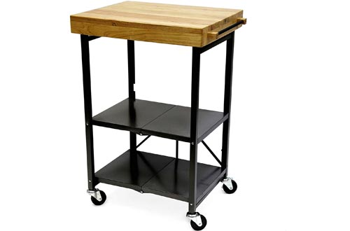 Origami Folding Kitchen Carts on Wheels | for Chefs Outdoor Coffee Wine and Food, Microwave Carts, Kitchen Island on Wheels, Rolling Carts, Kitchen Appliance & Utility Carts | Black with Wood