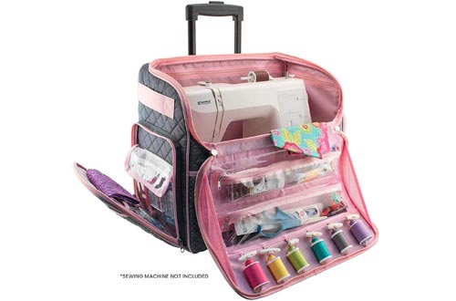 Everything Mary Deluxe Quilted Pink and Grey Rolling Sewing Machine Tote - Sewing Machine Cases Fits Most Brother & Singer Sewing Machines, Sewing Bag with Wheels & Handle - Portable Sewing Cases