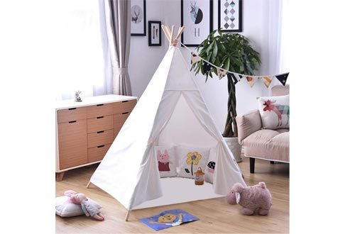 OUTREE Kids Tent Indoor - Painting Teepee Tents for Kids with 4 Wooden Poles Ideal for Children Bedrooms, Playrooms, Living Rooms - Portable Canvas Play Tents (White)