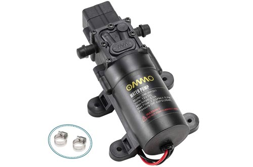 OMMO 12V DC Fresh Water Pumps, 60W RV Diaphragm Pumps with 2 Hose Clamps, 4.5 L/Min 1.2 GPM 85 PSI Self Priming Sprayer Pumps with Pressure Switch for RV Marine Boat Lawn