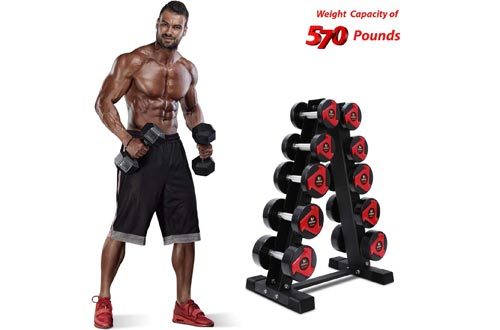 Akyen A-Frame Dumbbell Racks Stand Only-5 Tier Weight Racks for Dumbbells (570 Pounds Weight Capacity, 2020 Version)