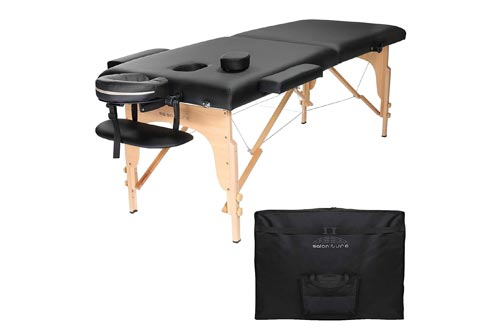Saloniture Professional Portable Folding Massage Tables with Carrying Case - Black