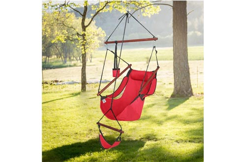 ONCLOUD Upgraded Unique Hammock Hanging Sky Chairs, Air Deluxe Swing Seat with Rope Through The Bars Safer Relax with Fuller Pillow and Drink Holder Solid Wood Indoor/Outdoor Patio Yard 250LBS (Red)