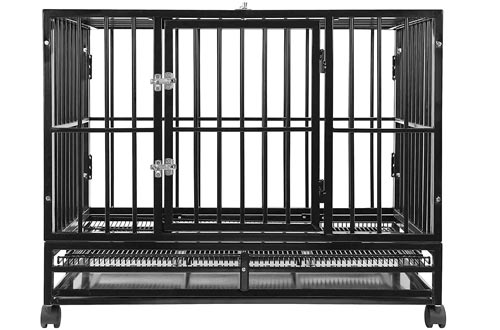 SmithBuilt Heavy Duty Dog Crates Cage - Two-Door Indoor Outdoor Pet & Animal Kennel with Tray - Various Sizes & Colors