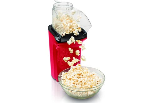 Hamilton Beach Electric Hot Air Popcorn Poppers, Healthy Snack, Makes up to 18 Cups, Red (73400)