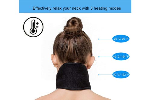 Mengya Far Infrared Portable Electric Heating Pads for Neck, 3 Temperatures Control with 6.2 ft USB Cable,Hot Therapy, Pain Fatigue Relieve, Improve Blood Circulatio, Keep Warm (Black)