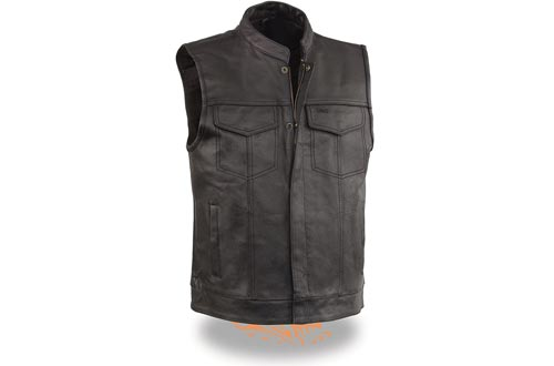 EVENT LEATHER Men's Leather Motorcycle Vests Zipper & Snap Closure w/2 Inside Gun Pockets & Single Panel Back