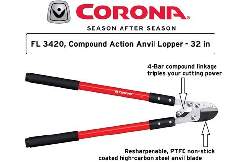 Corona Compound Action Anvil Loppers, 32 Inch, FL 3420,Black