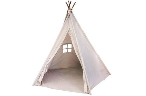 EJOY e-Joy 6' Indoor Indian Playhouse Toy Teepee Play Tents for Kids Toddlers Canvas Teepee with Carry Case with Mat (Off-White)