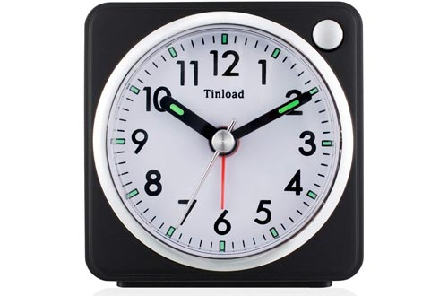 Small Analog Travel Alarm Clocks Silent Non Ticking, Snooze, Ascending Beep Sounds, Battery Operated,Light Functions, Easy Set (Black-L)